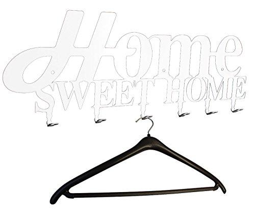 "Wandgarderobe, Flurgarderobe "" Home Sweet Home Design "" 58 cm, 6 Haken Metall (weiß) Hakenleiste, Garderobenleiste, Garderobenhalter, Kleiderhaken, Garderobe"