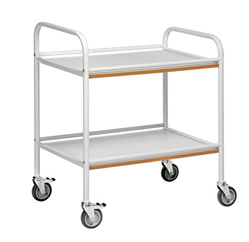 Tablettwagen | Ordentlicher Servierwagen mit 2 Böden, Bürowagen, Kantinenwagen Gastronomiewagen in Profiqualität