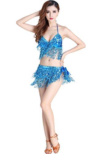Astage Damen Bauchtanz Kostüm 2 Teile BH Gürtel Sky Blue