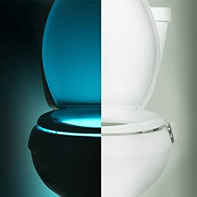VIVILIFE Motion Activated Toilet Night Light - Body Sensor Bathroom Toilet Bowl Light White Surface Night Light adhere to Toilet Bowl(8-Color Changing LED Night Lamp) - inexpensive UK light store.