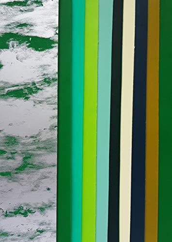 efco HdK-Versand 10 Wachsplatten Bunt Mix 200x50x0,5mm Verzierwachs, Wachs Uni Farben (Variante 2 Grün Mix)