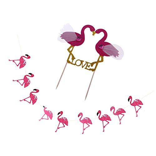 MagiDeal Tropische Flamingo Bunting Hawaiian Flamingo Sommer Party Luau Dekor Girlande mit Flamingo Tortenaufsatz Set