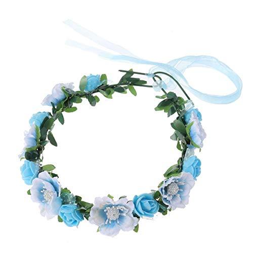 Ogquaton Frauen Blumen Haarband Haar Krone Blumenkranz Krone Kopfschmuck für Hochzeit Fest (blau)