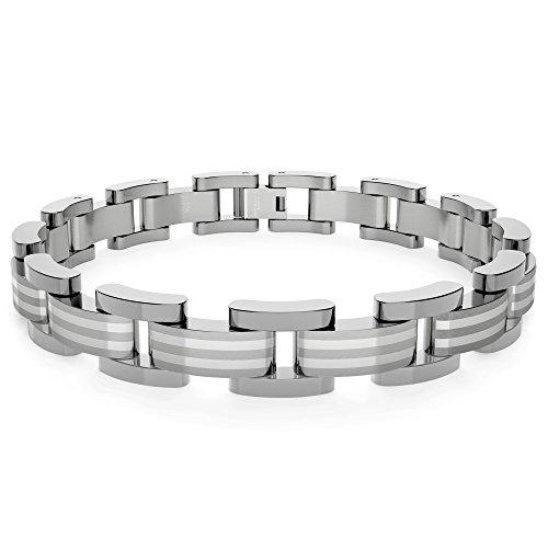 Braccialetto in titanio con inserto in argento, lucido (9
