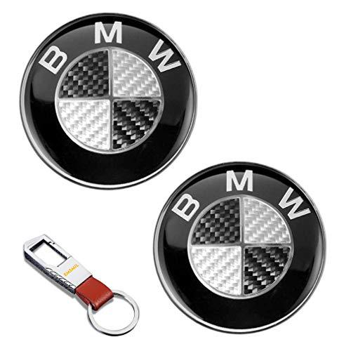 2 Stück 82 mm Emblem Ersatz Schwarz Carbon Embleme Haube Logo Vorne Hinten Motorhaube Kofferraum 1 3 5 7 Serie M3 M5 X5 X6 E30 E36 E46 für BM W Seriese -