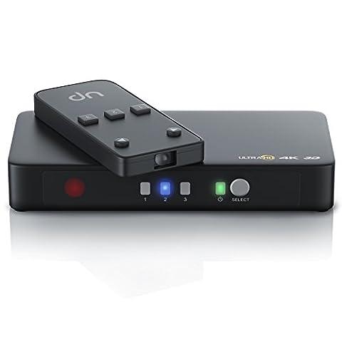 4K HDMI Switch / 3-Port Commutateur avectélécommande | 4K @ 30 Hz Ultra HD / Full HD / 3D | CEC | HDCP | 48-bit Deep Color | Convertisseur 3 x entrées / 1 x sortie | Dolby True HD Audio