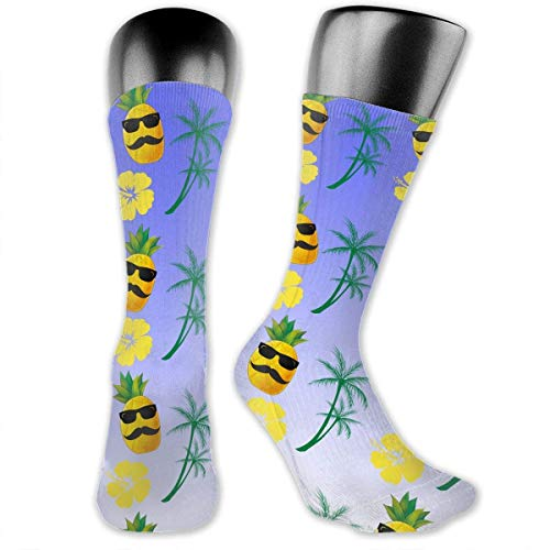 Antibacterial Pineapple With Sunglass Hibiscus Coconut Trees Unisex Crew Athletic Compression Elastic Socks Art Ankle Stockings Breathable Running Socks Soccer Socks mens socks