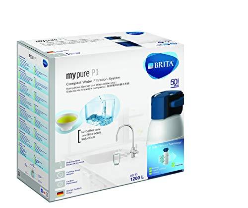 BRITA My Pure - Grifo de Agua con Filtro para 12 Meses, Acero Inoxidable, Plateado, Sistema