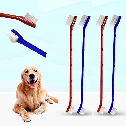 Honey MoMo Haustier-Zahnbürste, Haustier-Zubehör, Doppel-Ende-Zahnbürste, Haustier-Zahnbürste, Zahnbürste, Zahnbürste, Zahnbürste, weich, Rot + Blau - Whitener Gel