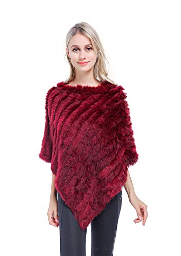 Meefur da donna mantella di vera pelliccia di coniglio maglieria scialle lavorato a maglia mantello colmo per l'inverno (rosso)
