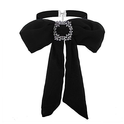 Gargantilla de arco, 3 Colores Mujeres Moda Pajarita Gargantilla Cuello-Nudo Collar de Gasa Collar de Accesorios de Vestir(Negro)