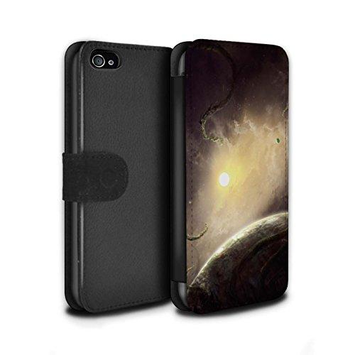 Offiziell Chris Cold PU-Leder Hülle/Case/Tasche/Cover für Apple iPhone 4/4S / Exoplanet Muster / Galaktische Welt Kollektion Entfernten Stern