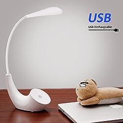 LED lampade da tavolo, lettura libro luci al coperto con collo flessibile, controllo sensibile a tocco 3 luminosità luci notturne per proteggere gli occhi e lampade LED ricaricabili per ufficio casa lettura studio lavoro [Classe energetica A ++]