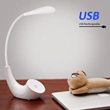 Lampe de Chevet LED, USB Rechargeable Sans Fil 3 Niveaux de Luminosité Contrôle Tactile, 5500K Blanc du Jour Lampe de Lecture Lumière Yeux Protégés, Lampe de Table avec Col de Cygne Flexible Blanche