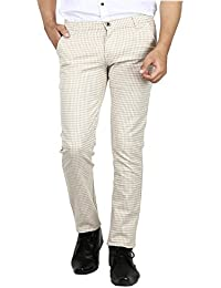 AD & AV MENS CASUAL TROUSER (325_MENS_CHEX_KHAKI_TROUSER_CC)-CREAM