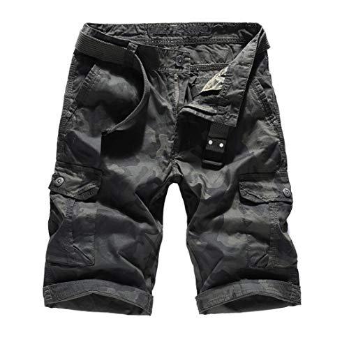 TEBAISE Sommer Cargoshorts Cargobermudas Kurze Hose für Herren Männer aus Reine Baumwolle Airborne Vintage Savage Shorts Bermudas Herren Sonnenbrille (Armee grün,30