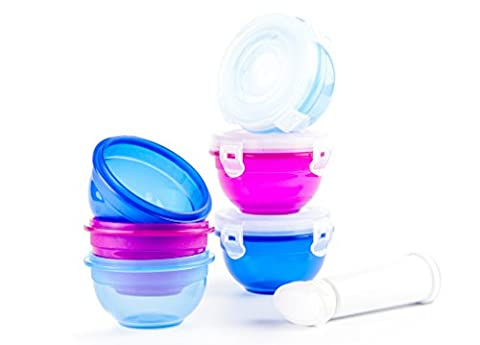 Toddle Pots 6 Piece Toddler & Baby Food Portion Control Containers Set 220ml | Perfect For Meals & Snacks | 100% Leak-proof, Airtight, BPA Free, Freezable & Microwave Safe Small Lunch Boxes With Lids | Nest & Stack Design Meal Prep Storage Set | Includes Freshness Pump For Use With Lid Valve - Regulates Steam & Aids Air Extraction | Keep Food Fresher For Longer | Ideal For 9 Months +