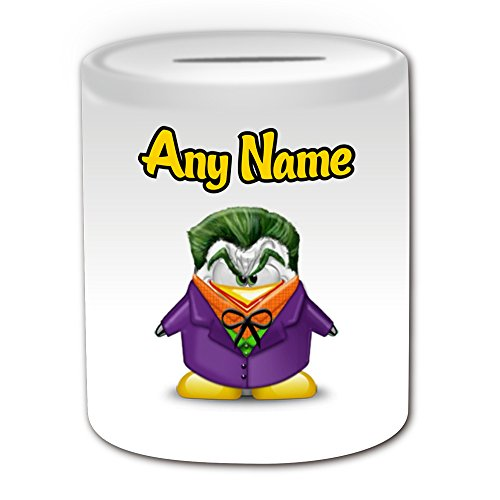 Regalo personalizado–Joker caja de dinero (pingüino película carácter tema de diseño, color blanco)–cualquier nombre/mensaje en su único–disfraz de superhéroe Movie Hero Marvel Comics Los Vengadores Batman