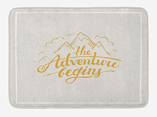 JIEKEIO Adventure Bath Mat, Vibrant Mountain View and The Adventure Begins Quote Travel Hand Drawn, Plush Bathroom Decor Mat with Non Slip Backing, 23.6 W X 15.7 W Inches, Earth Yellow Apricot Fiesta Apricot