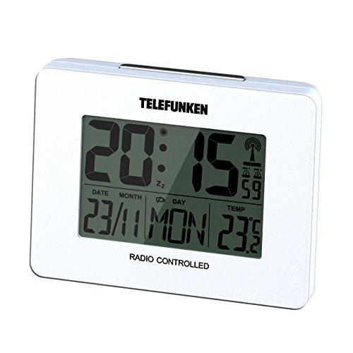 Telefunken FUD-40 DCF LCD-Funkwecker digital mit Thermometer/Temperaturanzeige und Kalender autom. Zeitumstellung (weiß)