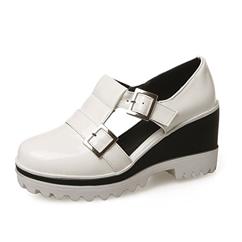 AllhqFashion Damen Rund Zehe Ziehen Auf Pu Rein Hoher Absatz Pumps Schuhe Weiß