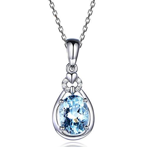 Amody Frauen Teardrop Halskette S925 Sterling Silber Oval geschnitten Blautopas Anhänger Halsketten