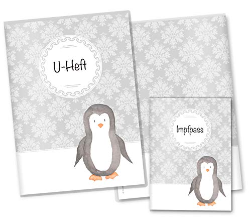 U-Heft Hülle SET Black & White Pinguin Untersuchungsheft Hülle & Impfpasshülle wunderschöne Geschenkidee (U-Heft Set ohne Personalisierung, Pinguin)