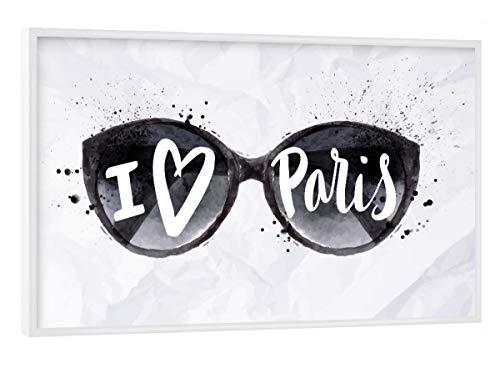 artboxONE Poster mit weißem Rahmen 45x30 cm Städte/Paris Paris Sun Glasses - Bild Paris Design Background
