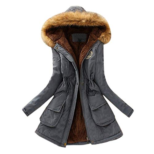 KaloryWee 2020 Winter Damen Strickjacke Parka Wintermantel Warmer Dicker Mantel Hoodie Kapuzenjacke Pelzkragen Brust-Emblem Lange Slim
