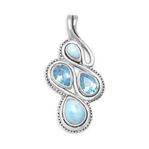 Abbildung 8Stil oxidiert Sterling Silber Slide Pear Form Larimar blau Topas Steine