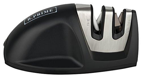 B.PRIME Messerschärfer MOUSE BLACK – 2 Stufen Messerschleifer - Wolframstahl für den Vorschliff - Keramikstein für Feinschliff