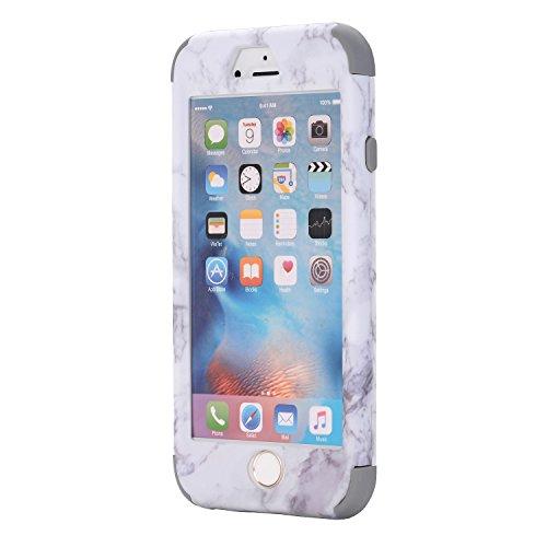 Cover iPhone 6S plus 5.5, Custodia iphone 6 plus, iphone 6S plus Silicone Cover, MoreChioce 360°Protection Moda Painting Colorato Marmo Modello Custodia, Ultra Slim Soft Silicone Gomma Morbido TPU Rag Marmo Grigio