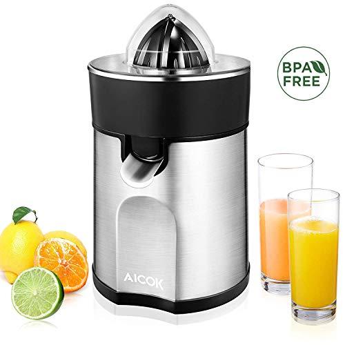AICOK Organgenpresse & Citruspresse (2 autom. links-& rechtsrotierende Presskegel für Zitronen/Orangen), Tropf-Stopp-Funktion, spülmaschinenfest, BPA-frei, Zitruspresse elektrisch