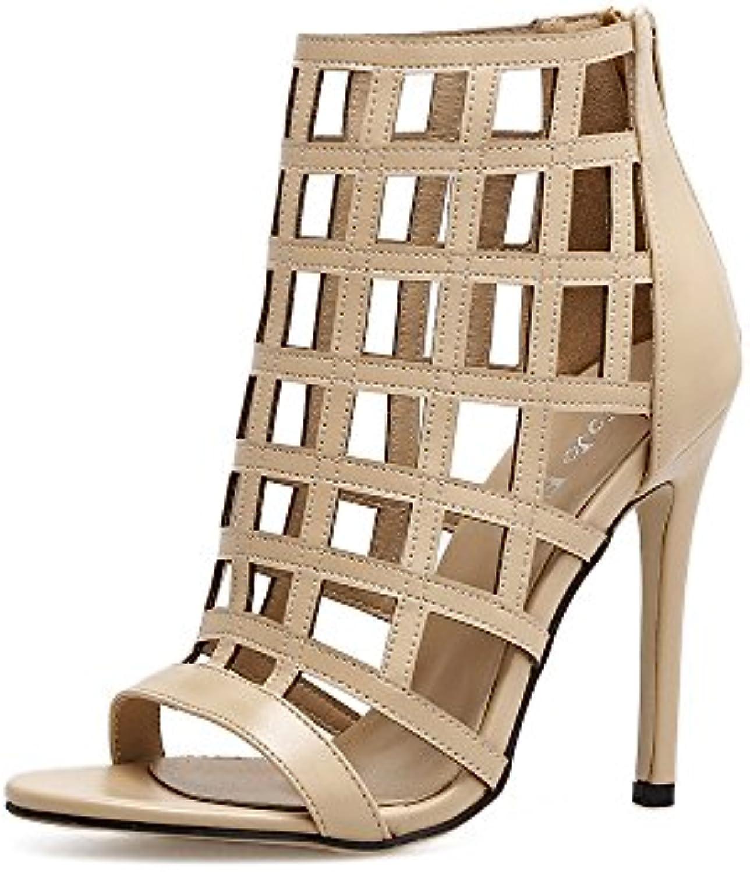 ZHZNVX Los Zapatos de Tacón Alto en la Primavera Moda Zapatos Boca de Pescado Expuesto Bien con Sandalias Calzados... -