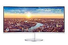 Samsung C34J791 Monitor Curvo Ultrawide, 34 Pollici, WQHD, QHD, 3440 x 1440, 4 ms, 21:9, 100 Hz, 1440p, HDMI, Display Port, Thunderbolt 3, Quantum Dot, Base Tonda, Bianco, VESA