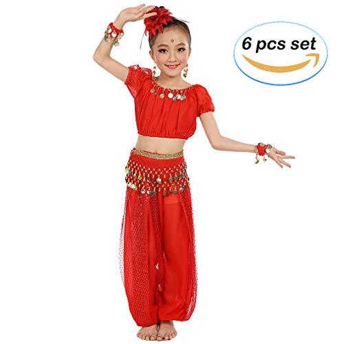 Magogo Mädchen Bauchtanz Kostüm Geburtstagsfeier Kostüm, Cosplay Arabische Prinzessin Dancewear Glänzende Karneval Outfit für Kinder (XL, Rot) (Arabische Prinzessin Rote Kostüm)