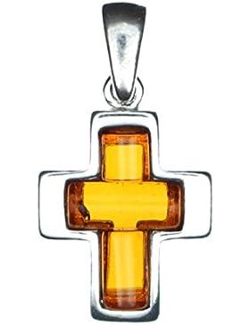 Kleiner Anhänger Kreuz Bernstein 925/000 Sterling Silber rhodiniert von Artisana