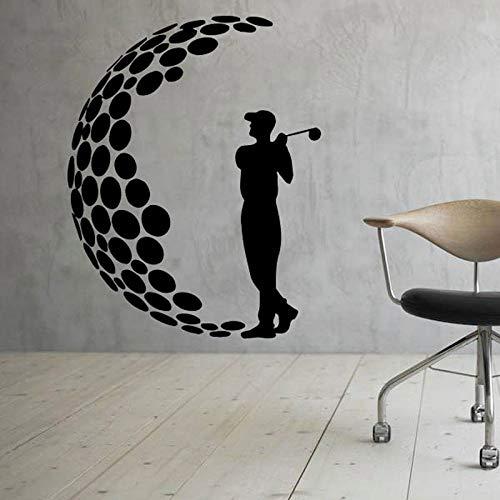 guijiumai Golf Aufkleber Wand Vinyl Aufkleber Boy Sports Decor Silhouette Mann Golfer Player Club Aufkleber Wandbild Home Interior Art Decor weiß L 57x73cm -
