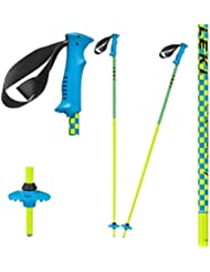 Leki–Bastones de esquí infantil Checker X, infantil, Skistock Checker X, Base Color: Neon Yellow/ Design: Cyan-Blue