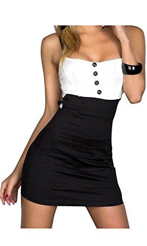 Ostenx Sexy Senza Spalline Maniche Senza Braccio Montato Mini Abito con Bel Tratto di Cocktail Tessuto Sera del Vestito Nero