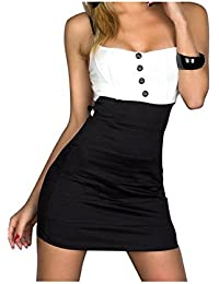 Ostenx Sexy Trägerlos ärmellos Ohne arm Tailliertes Minikleid mit feinem Stretch-Stoff Abendkleid Cocktailkleid Partykleid Schwarz Rosa Blau