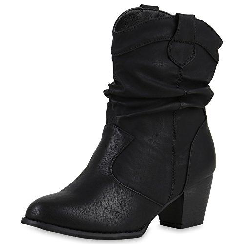 SCARPE VITA Cowboy Boots Damen Holzoptikabsatz Western Stiefeletten 165670 Schwarz 36