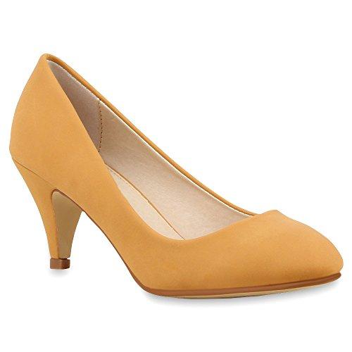 Damen Pumps Viele Farben Pastell Schuhe 66742 Hellbraun Basic 40 Flandell -