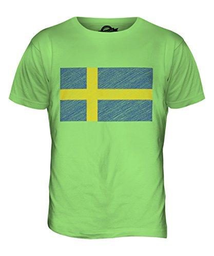 CandyMix Schweden Kritzelte Flagge Herren T Shirt Limettengrün