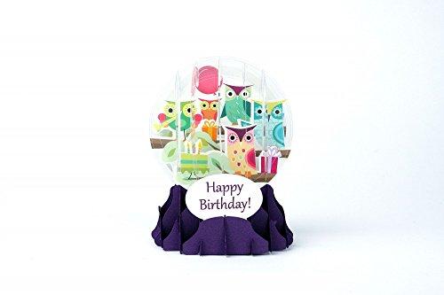 Geburtstagskarte Eulen-Schneekugel ()