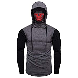 DOLDOA Hoodies for Men's Skull Mask Hoodie High Collar Half Face Skull Fall/Winter Warm-Up Casual Slim Top Pullover Multiple Color Combinations Size M-3XL
