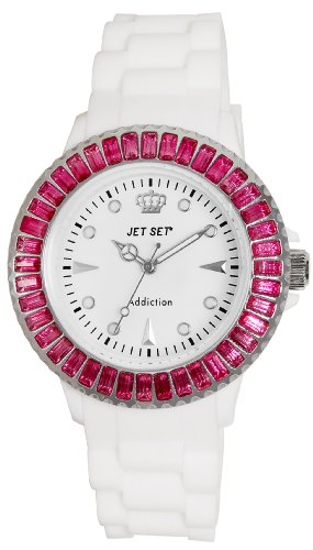 Jet Set J10014-561Addiction–Ladies Watch–Analogue Quartz–White Dial White Rubber Strap