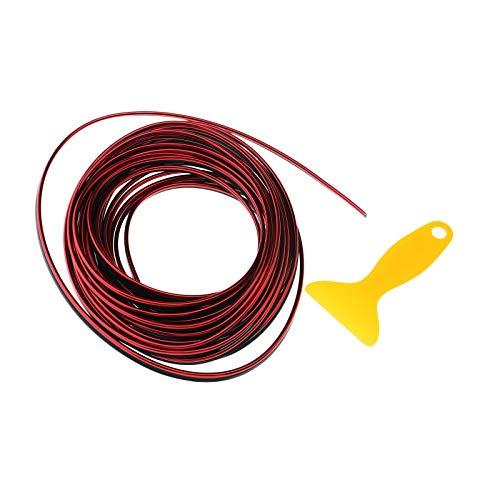 ENET - Adhesivo Decorativo para Puerta de Coche, diseño de Rayas, Color Rojo