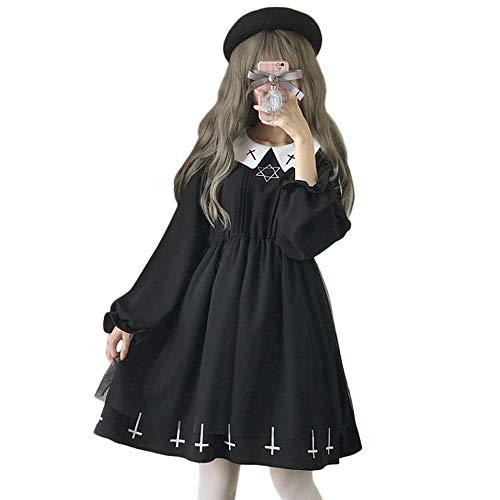 Himifashion Lolita Gothic Black Star Cross Nonne mit Langen Ärmeln Kleid Damen (M)