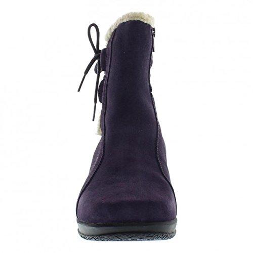 Clarks Angie Madi Q Damen Breit Rund Wildleder Mode-Stiefeletten Neu Purple